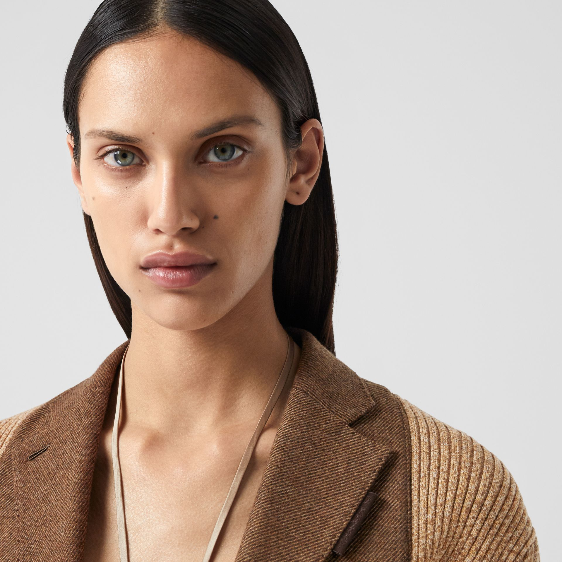 Rib Knit Panel Wool Cashmere Tailored Jacket in Dark Tan - Women | Burberry - gallery image 5