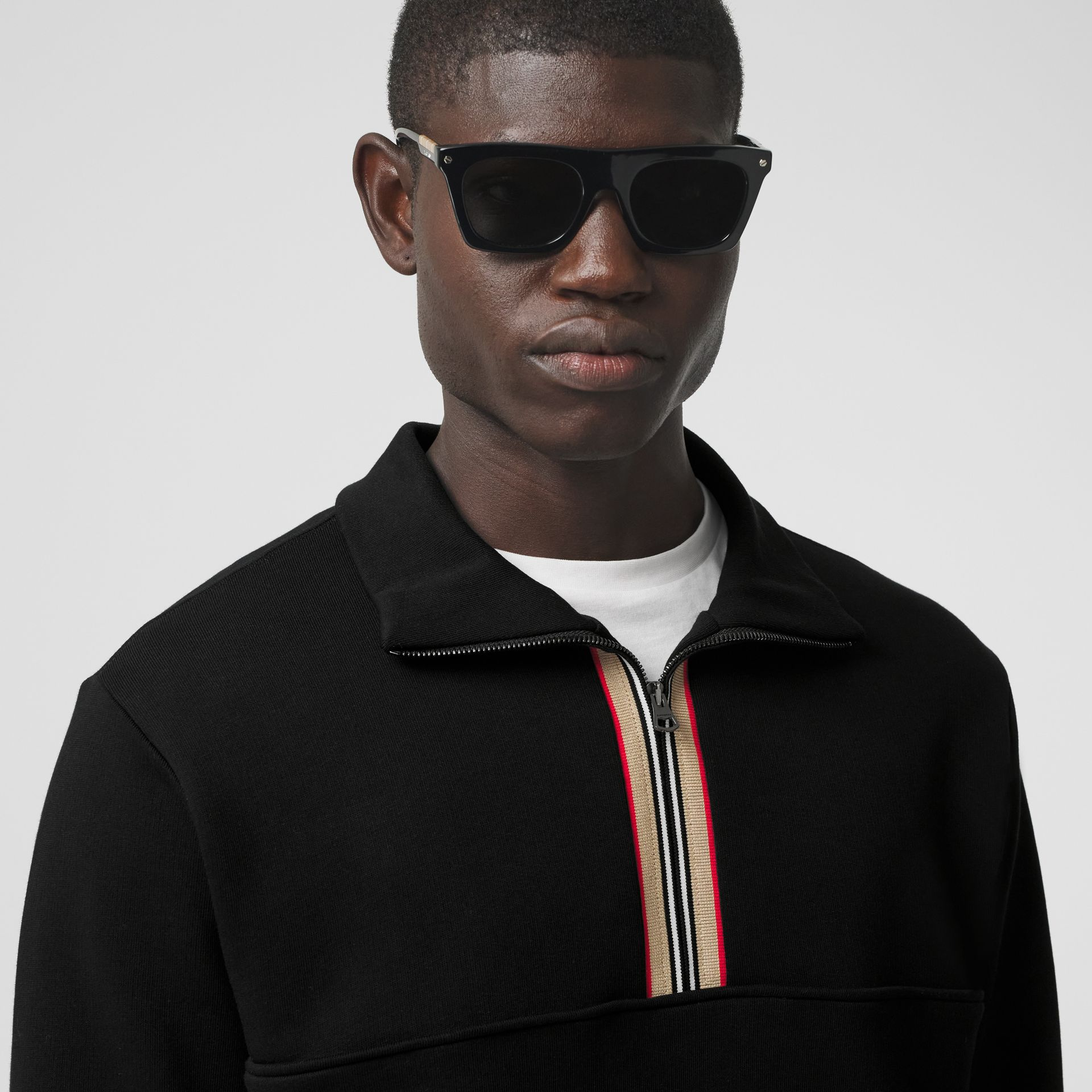 Icon Stripe Detail Cotton Funnel Neck Top in Black - Men | Burberry - gallery image 4