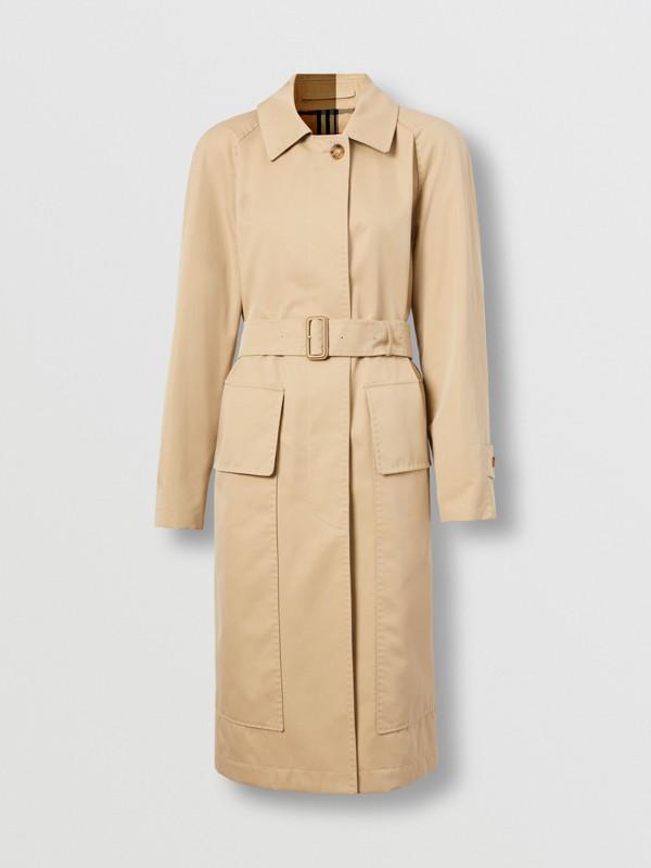 Cotton Gabardine Belted Car Coat in Honey - Women | Burberry - cell image 3