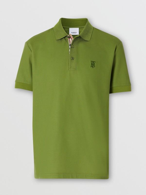 Monogram Motif Cotton Piqué Polo Shirt in Cedar Green - Men   Burberry - cell image 3