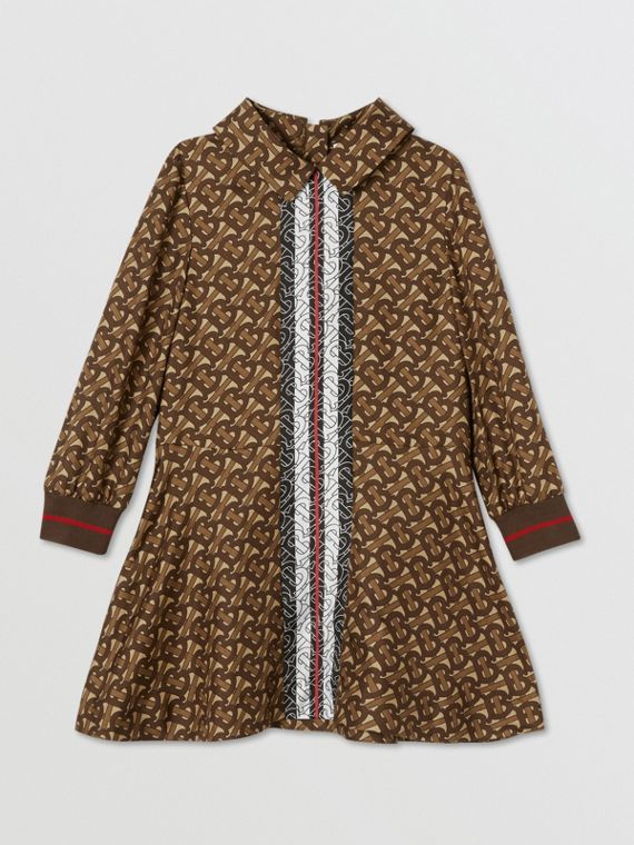Long-sleeve Monogram Stripe Print Silk Dress in Bridle Brown