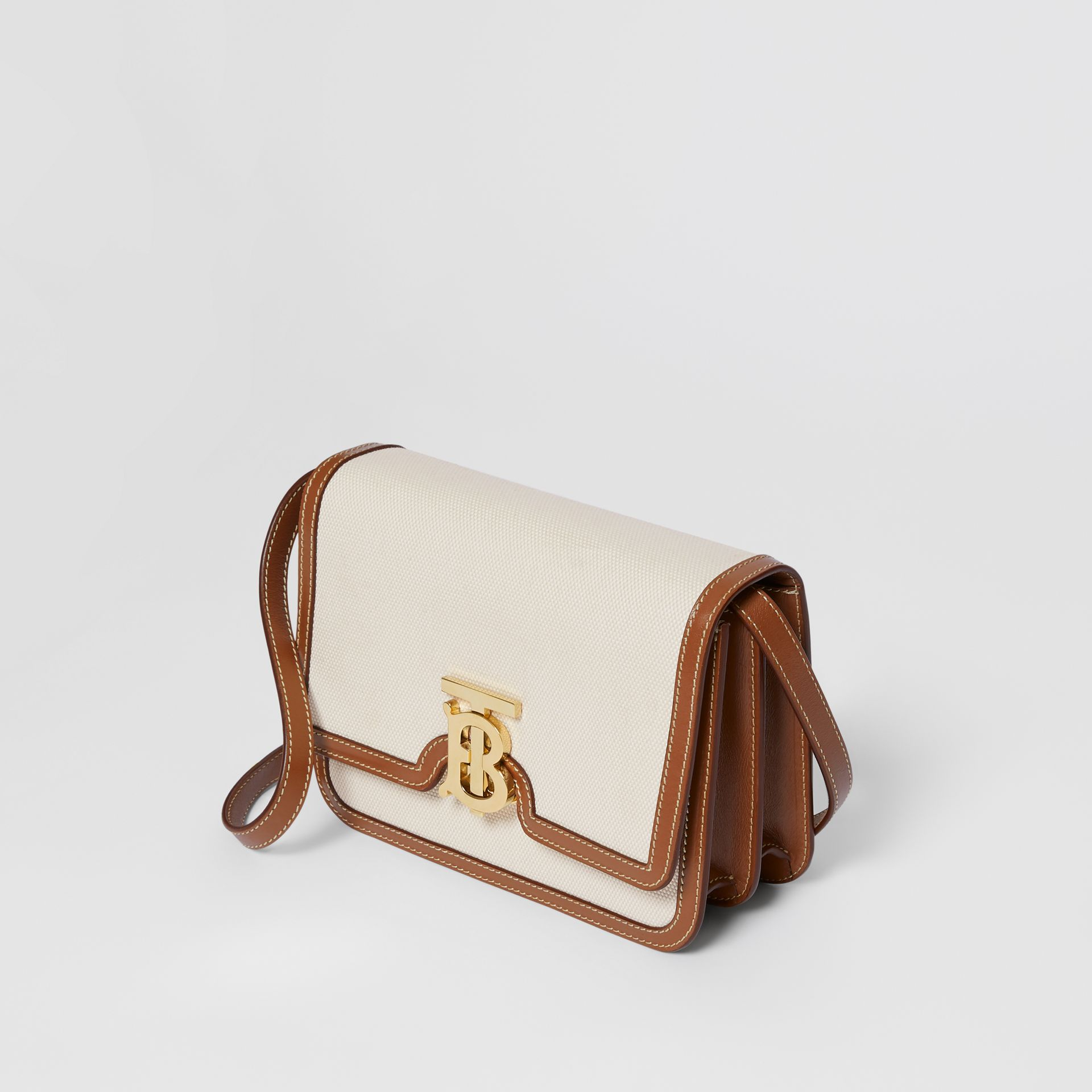 Small Two-tone Canvas and Leather TB Bag in Natural/malt Brown | Burberry - gallery image 2