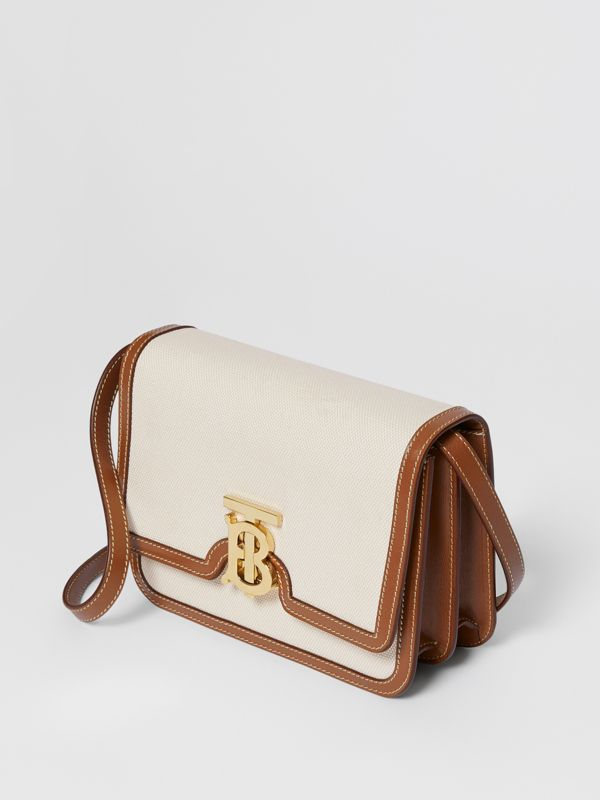 Small Two-tone Canvas and Leather TB Bag in Natural/malt Brown | Burberry - cell image 2