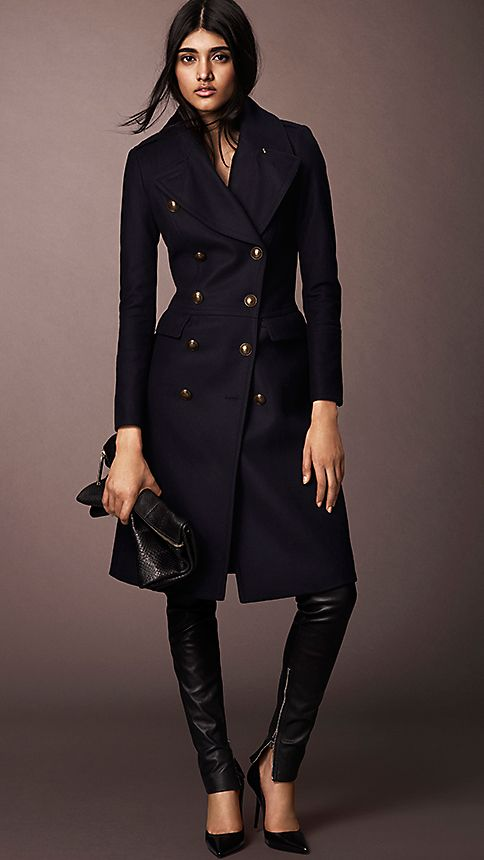 Navy Wool Blend Fitted Military Coat - Image 4