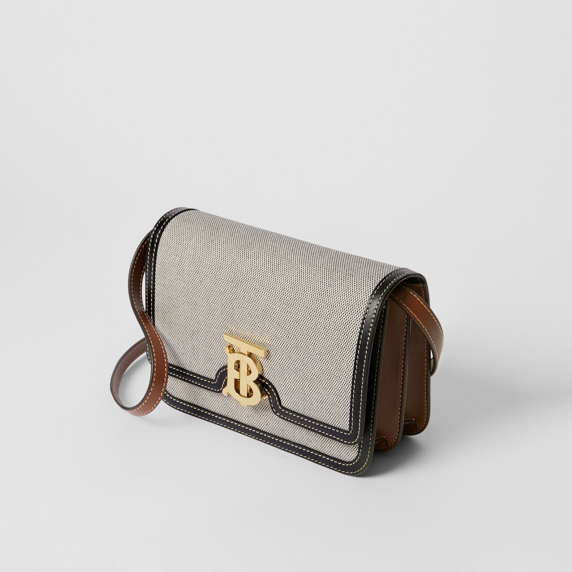 Small Tri-tone Canvas and Leather TB Bag in Black/tan - Women | Burberry United States - gallery image 3