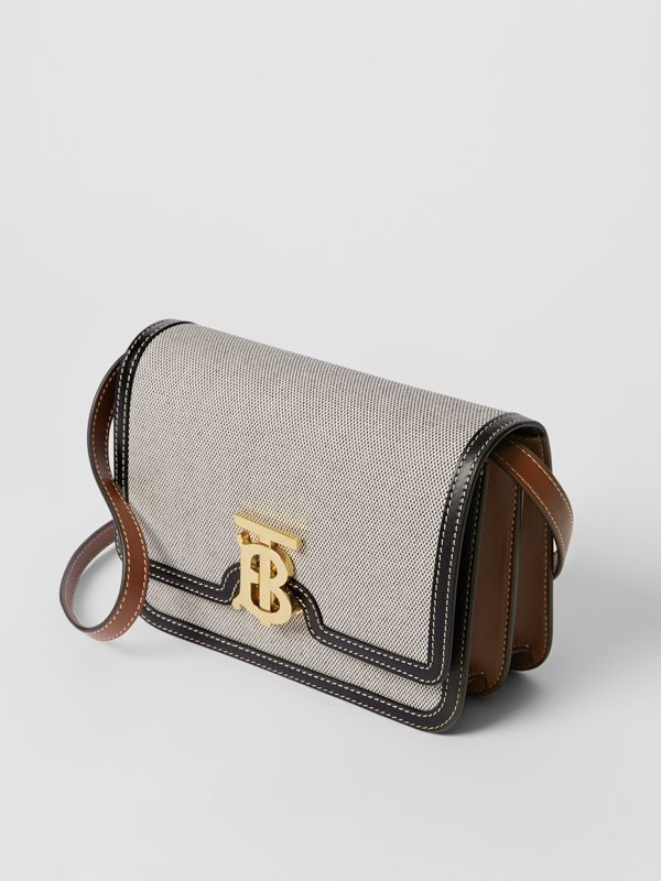 Small Tri-tone Canvas and Leather TB Bag in Black/tan - Women | Burberry United States - cell image 3