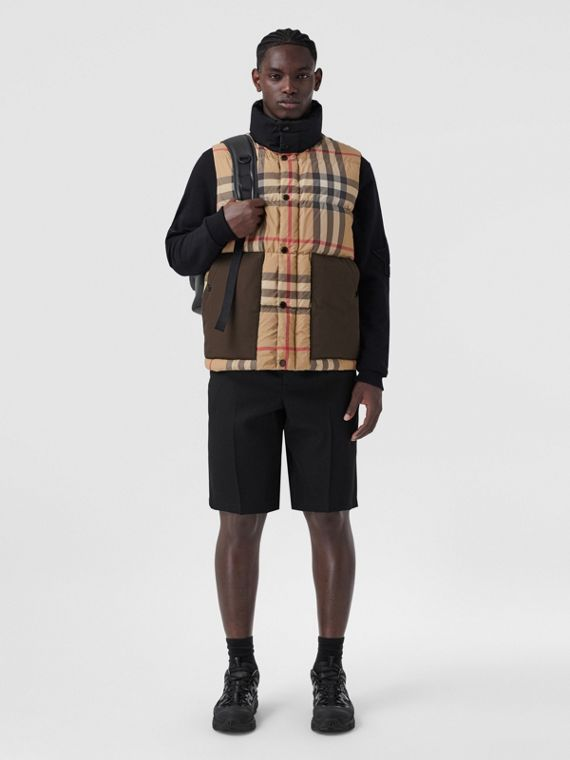 Check Recycled Polyester Puffer Gilet in Archive Beige