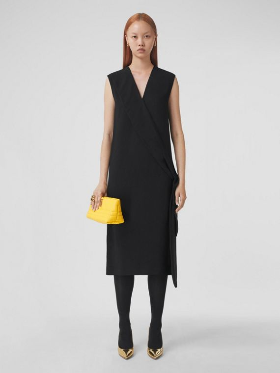 Silk Satin Sash Detail Sleeveless Dress in Black