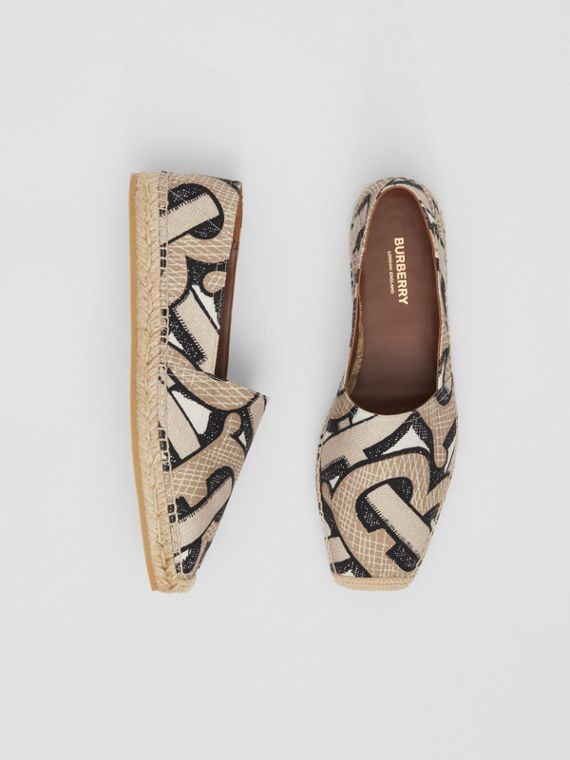 Monogram Print Cotton Canvas Espadrilles in Dark Beige