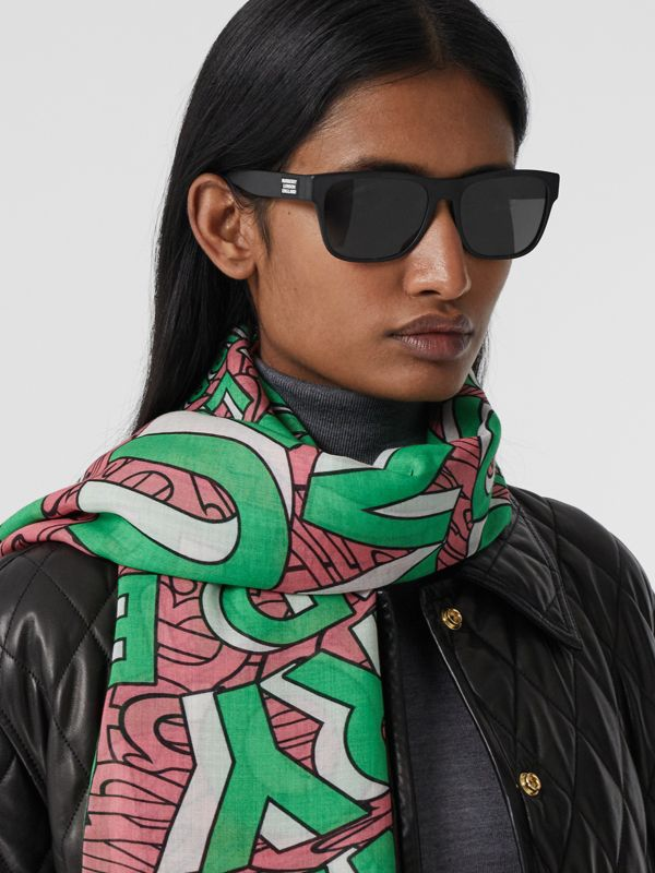Logo Print Silk Wool Large Square Scarf in Camellia Pink | Burberry - cell image 2