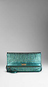 Studded Metallic Leather Foldover Crossbody Bag