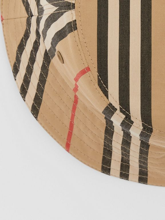 Reversible Icon Stripe Cotton Bucket Hat in Archive Beige | Burberry - cell image 1