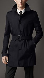Mid-Length Cotton Gabardine Single Breasted Trench Coat