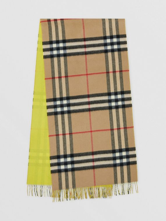 Reversible Check Cashmere Scarf in Yellow