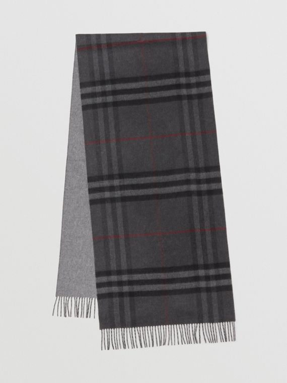 Reversible Check Cashmere Scarf in Charcoal