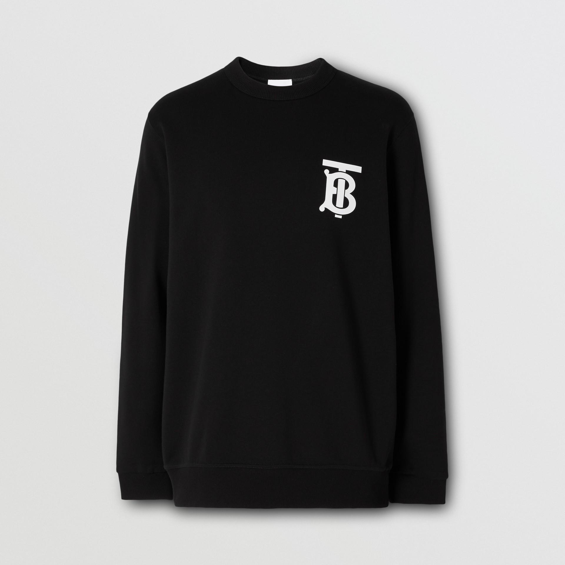 Monogram Motif Cotton Sweatshirt in Black - Men   Burberry - gallery image 3