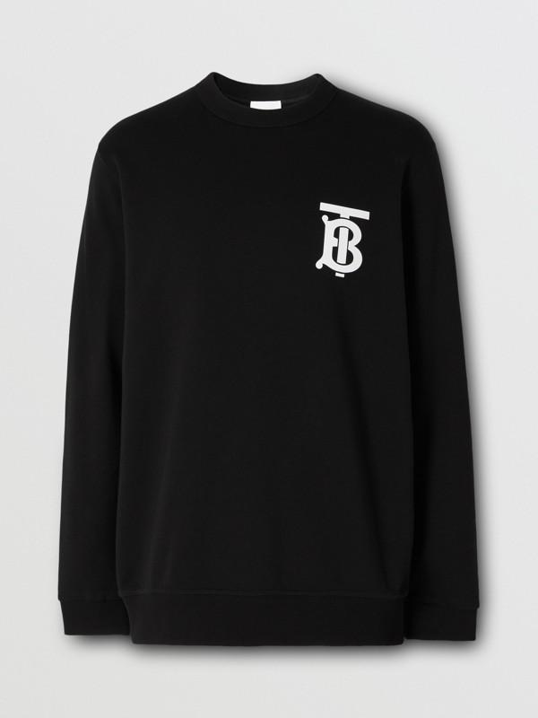 Monogram Motif Cotton Sweatshirt in Black - Men   Burberry - cell image 3