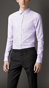 Slim Fit Micro-Check Cotton Shirt