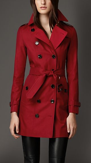 Gabardine Trench Coat with Check Cashmere Undercollar
