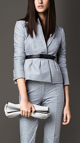 Peplum Waist Tailored Seersucker Jacket