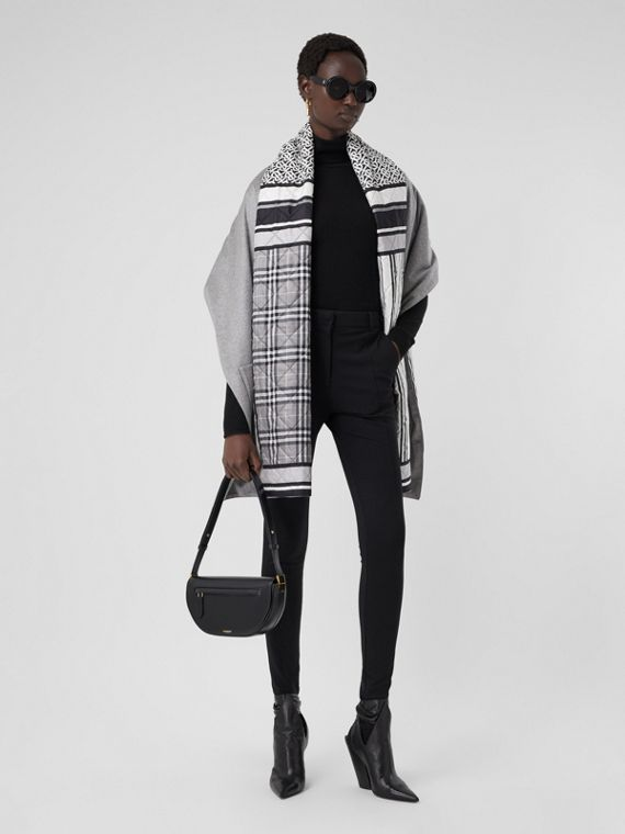 Montage Print Silk-lined Wool Cashmere Cape in Monochrome