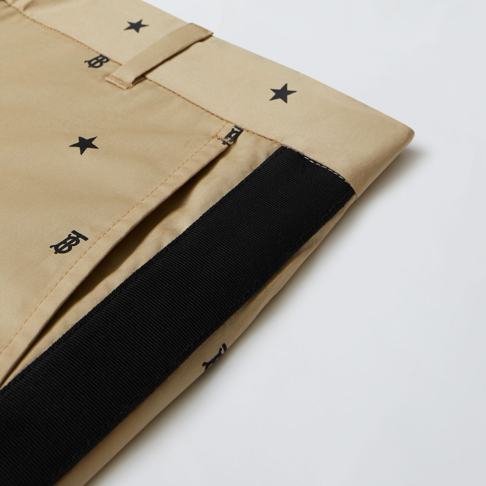 Star and Monogram Motif Stretch Cotton Trousers in Sand | Burberry - gallery image 1