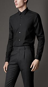 Modern Fit Stitched Collar Shirt