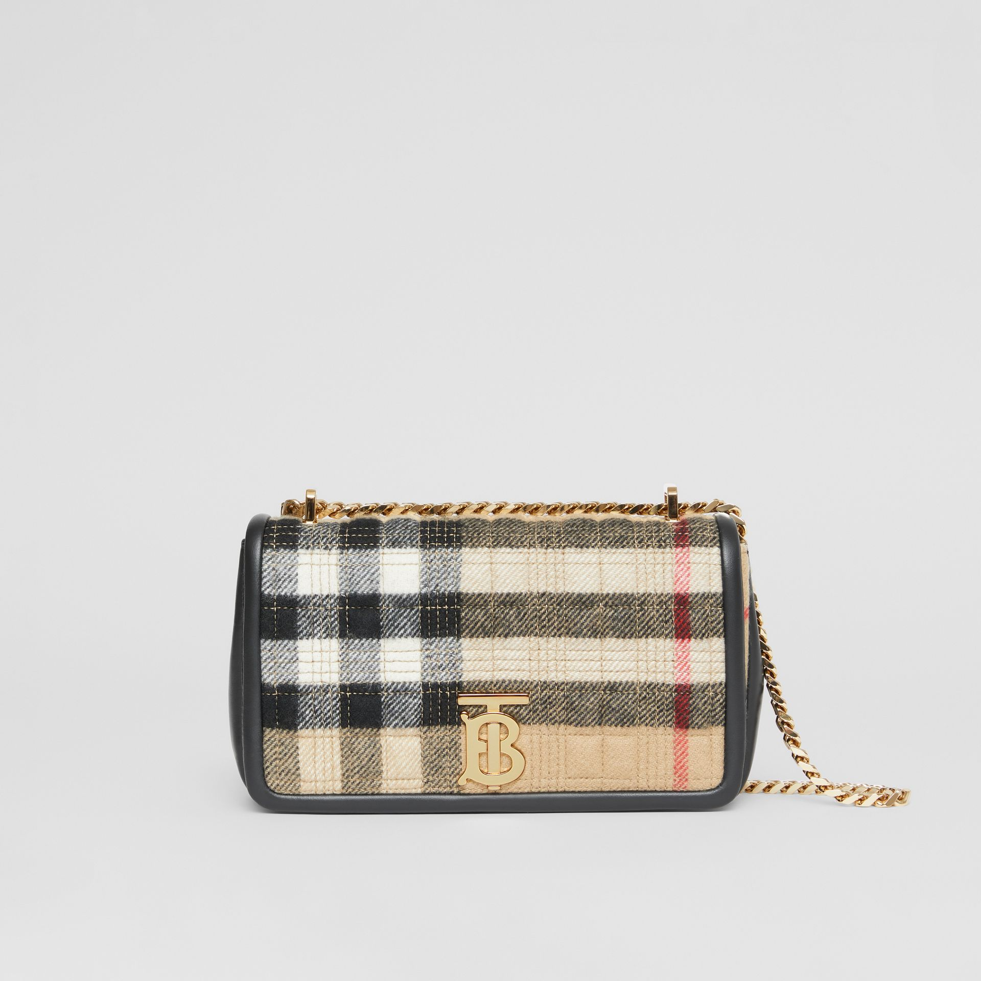 Small Check Cashmere Lola Bag in Archive Beige - Women | Burberry United States - gallery image 0