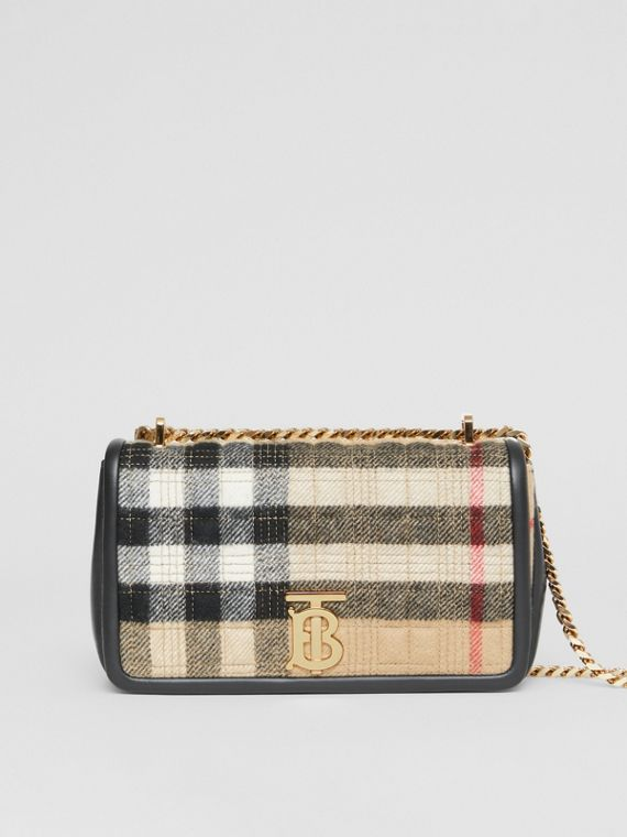 Small Check Cashmere Lola Bag in Archive Beige