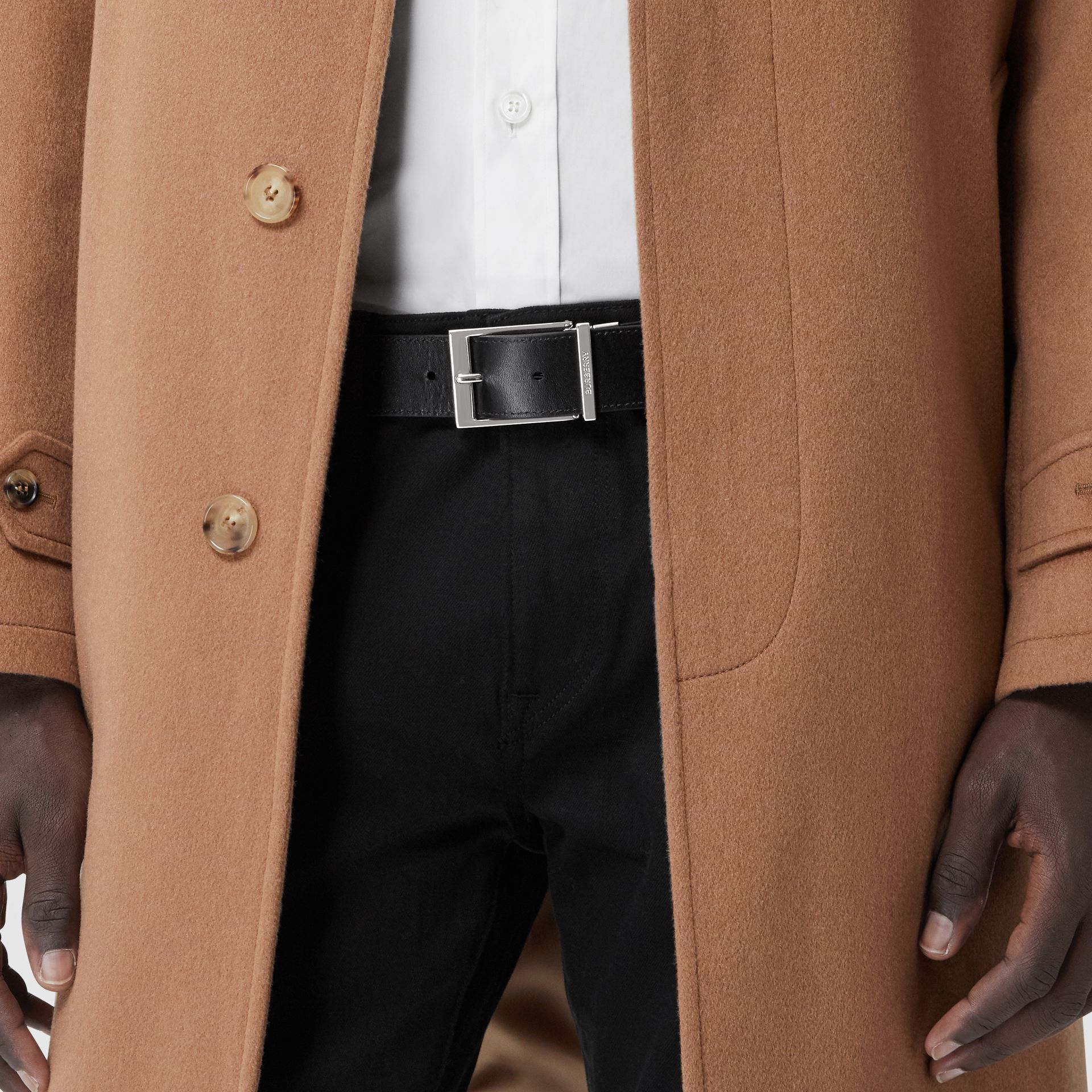 Reversible Check E-canvas and Leather Belt in Dark Birch Brown/black - Men | Burberry - gallery image 4