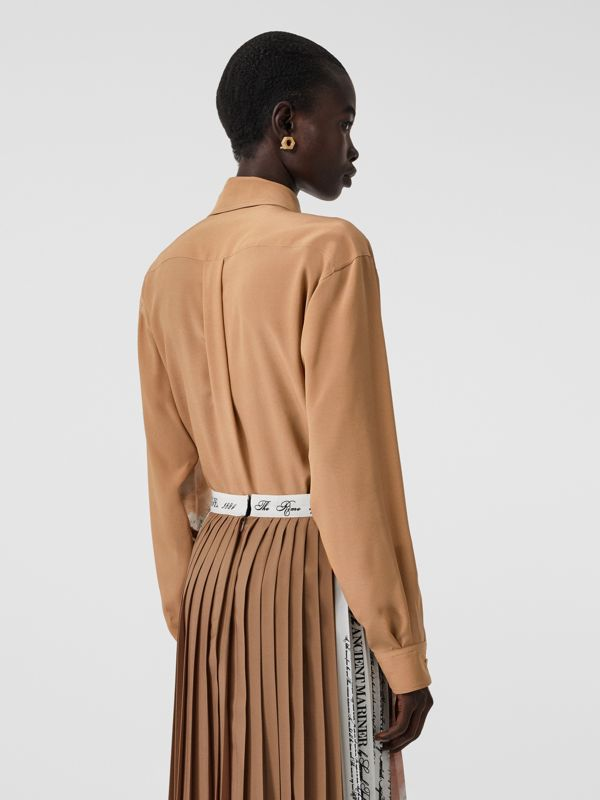 Mariner Print Silk Oversized Shirt in Bronze - Women | Burberry - cell image 2