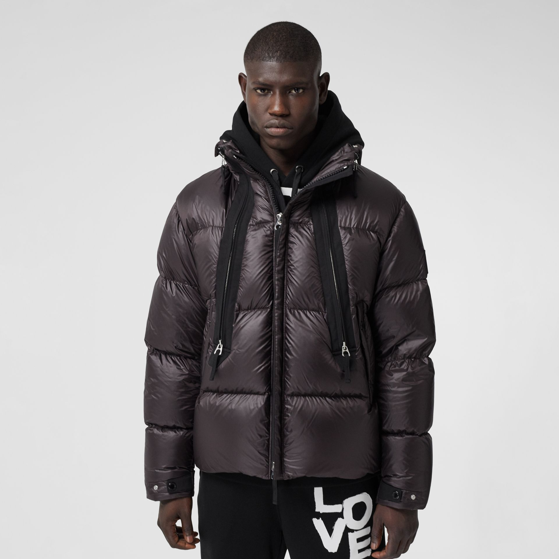Packaway Hood Zip Detail Puffer Jacket in Deep Brown - Men | Burberry - gallery image 5