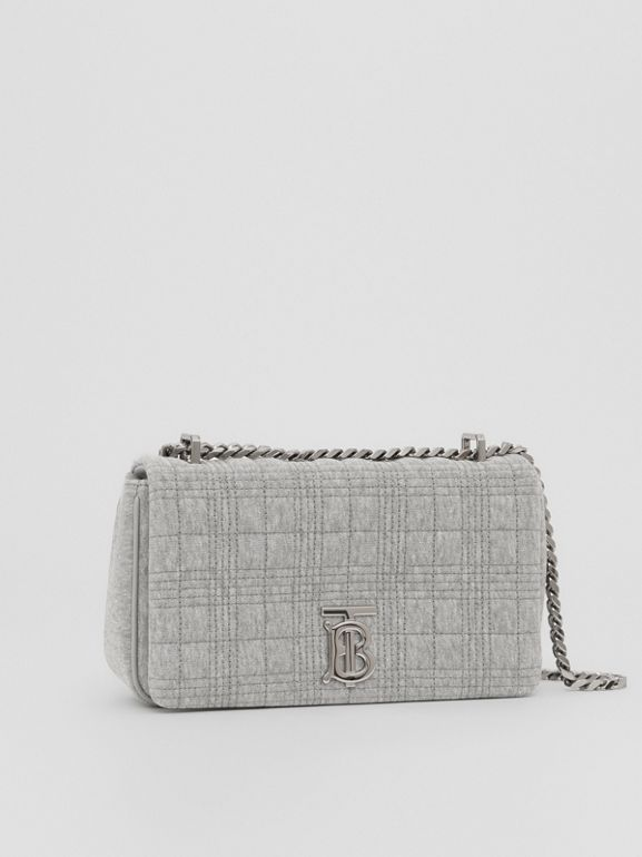 Small Quilted Jersey Lola Bag in Grey Taupe Melange | Burberry - cell image 1