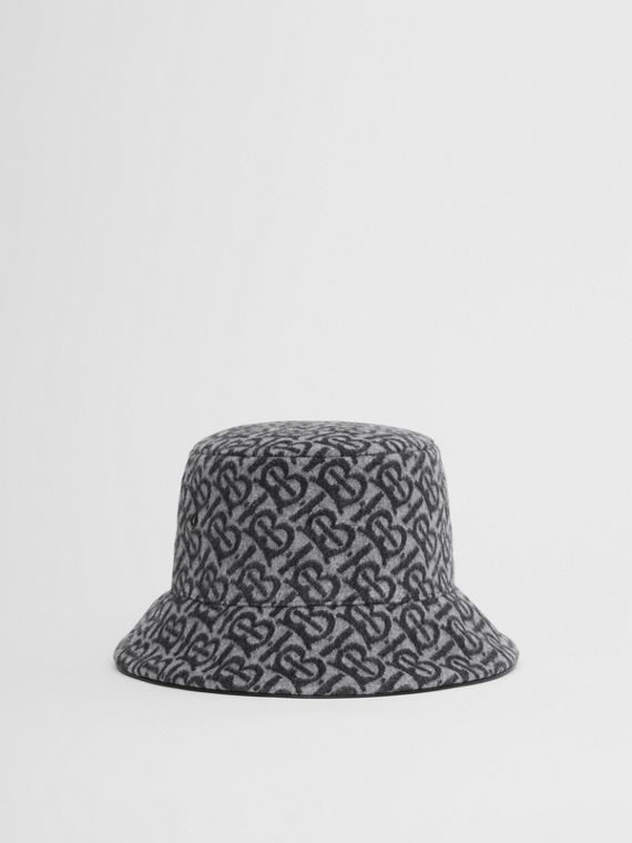 Monogram Wool Cashmere Jacquard Bucket Hat in Pale Grey
