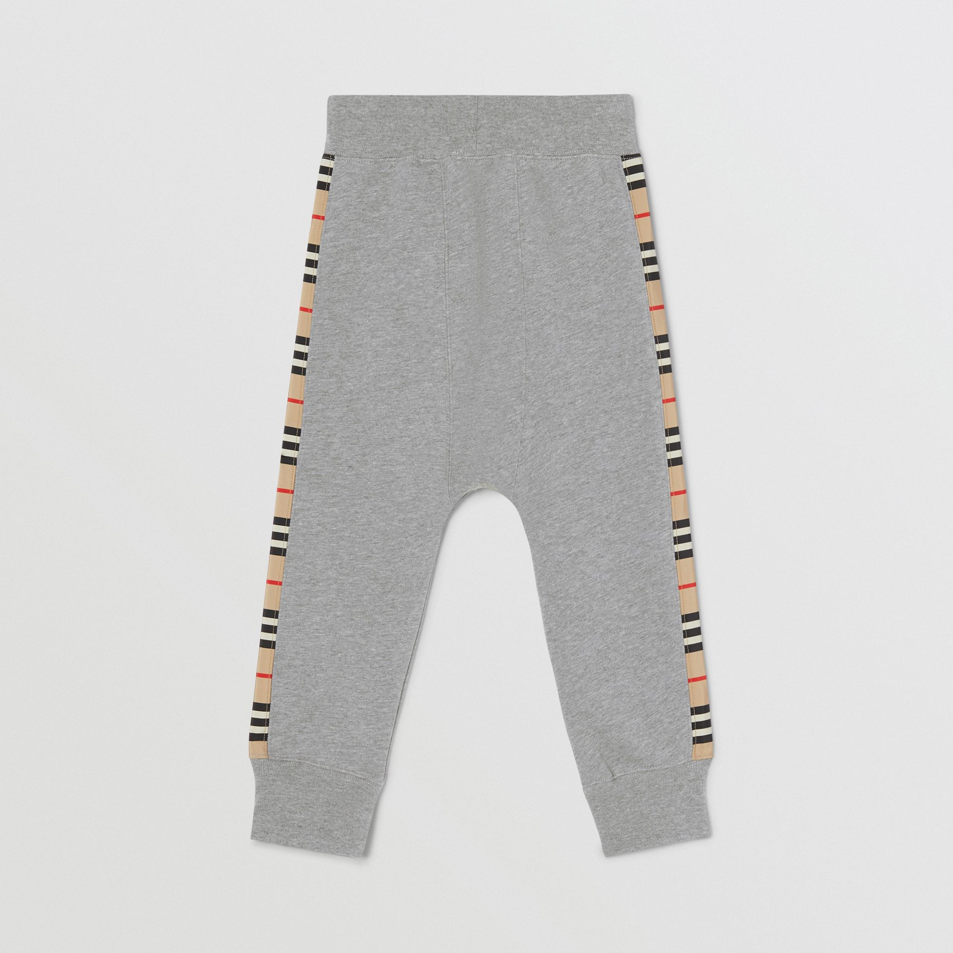 Icon Stripe Panel Cotton Trackpants in Grey Melange | Burberry United Kingdom - gallery image 2