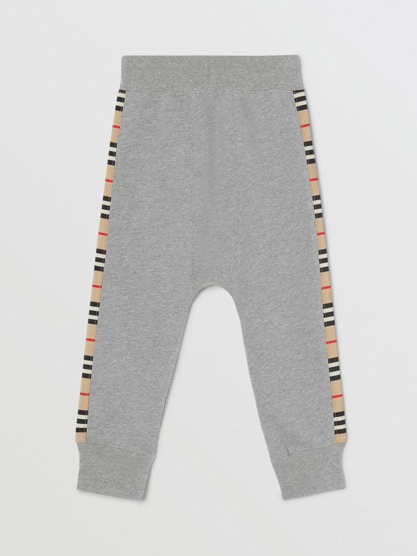 Icon Stripe Panel Cotton Trackpants in Grey Melange | Burberry United Kingdom - cell image 2