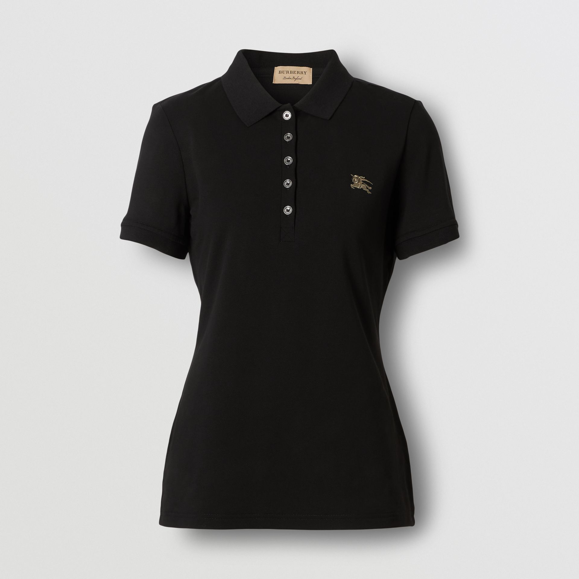 Check Trim Stretch Cotton Polo Shirt in Black - Women | Burberry - gallery image 0