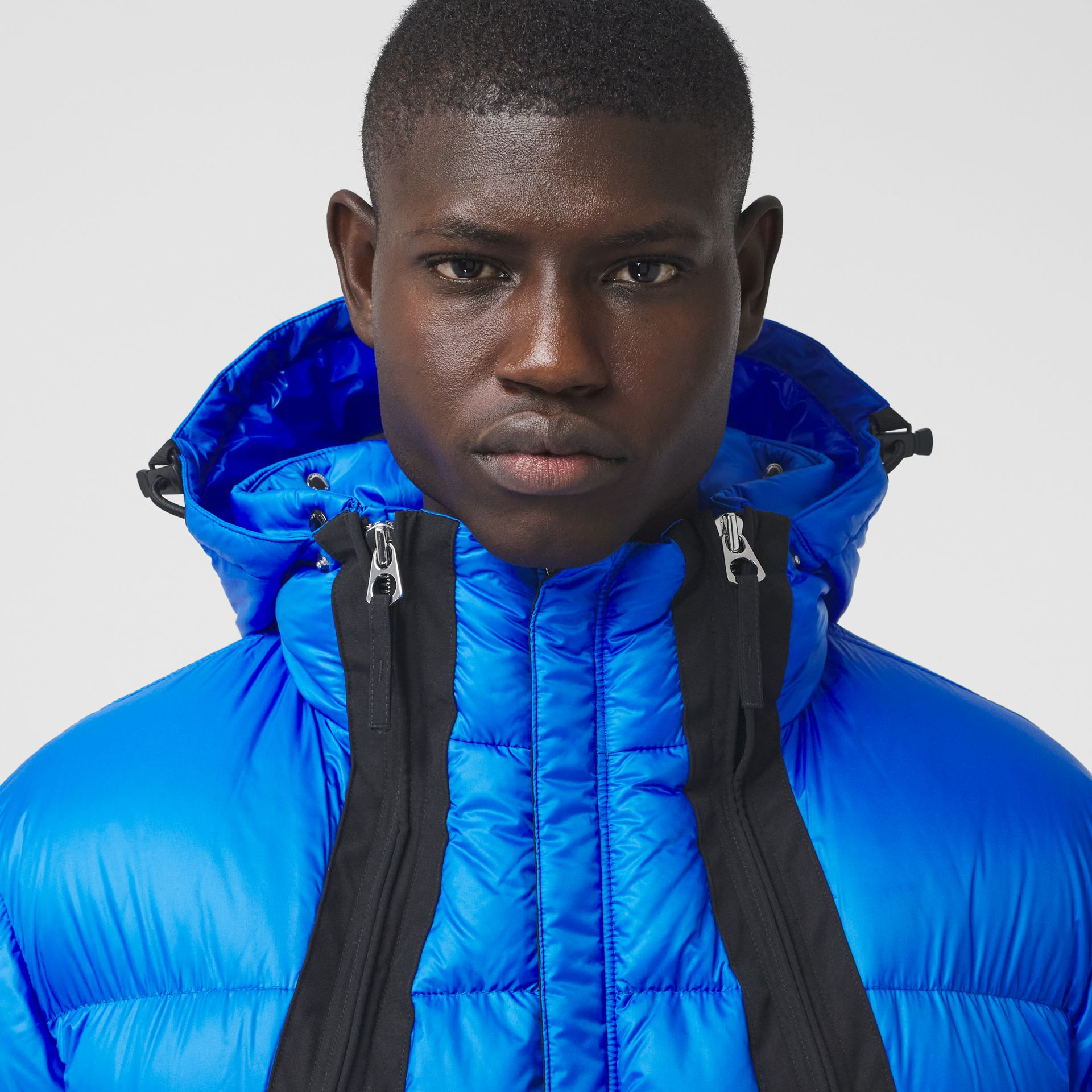 Packaway Hood Zip Detail Puffer Jacket in Canvas Blue - Men | Burberry - gallery image 1