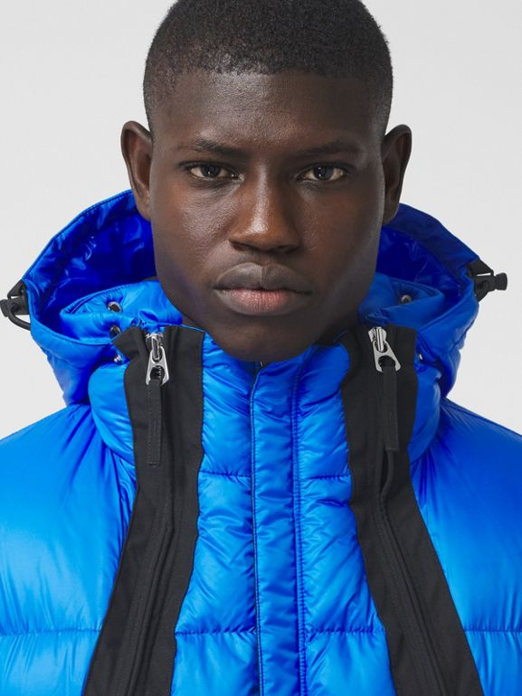 Packaway Hood Zip Detail Puffer Jacket in Canvas Blue - Men | Burberry - cell image 1