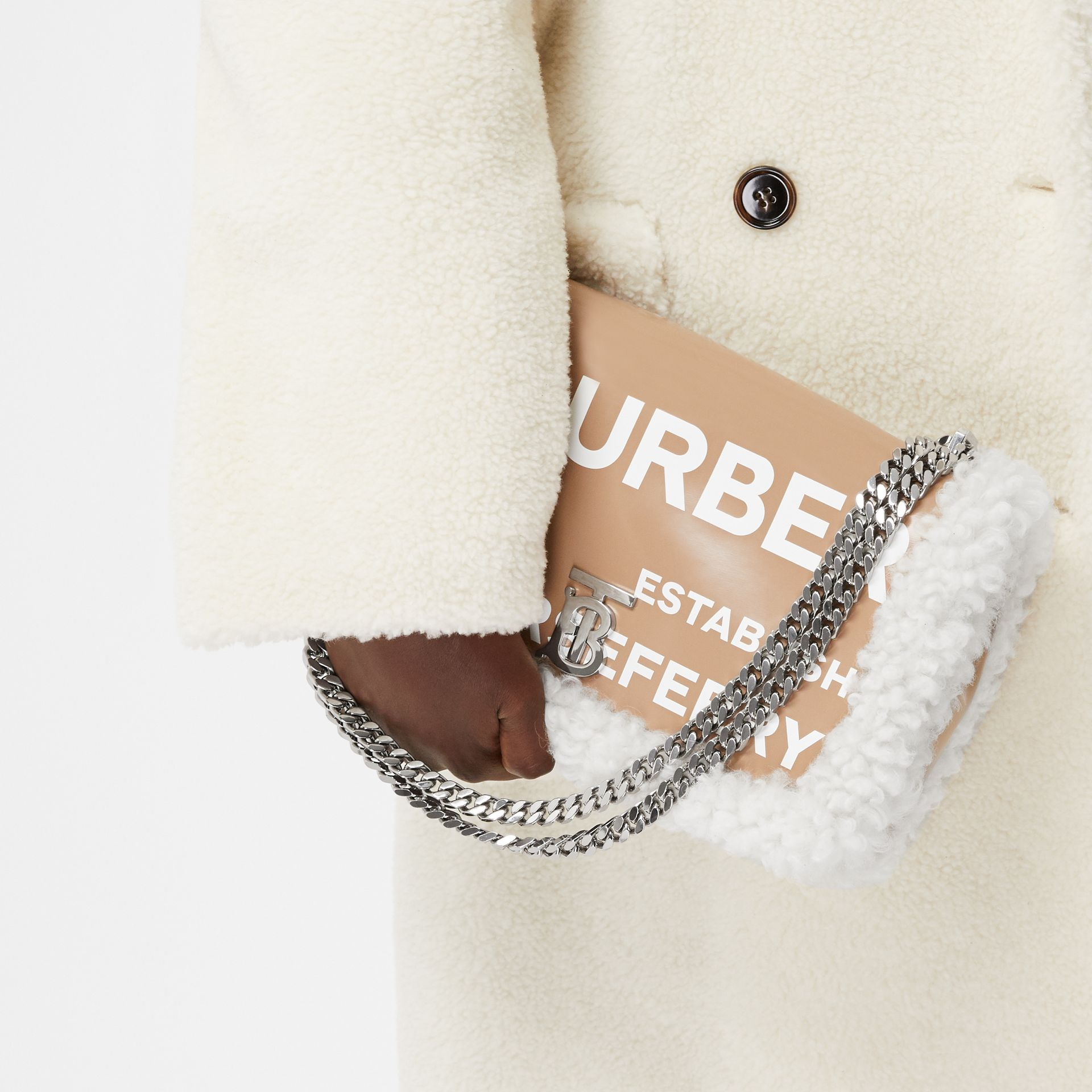 Medium Coated Canvas and Shearling Lola Bag in Camel - Women | Burberry Hong Kong S.A.R. - gallery image 8