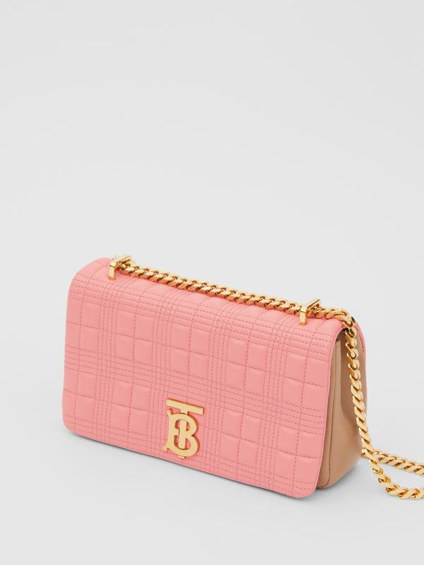 Small Quilted Two-tone Lambskin Lola Bag in Peony/camel - Women | Burberry - cell image 3