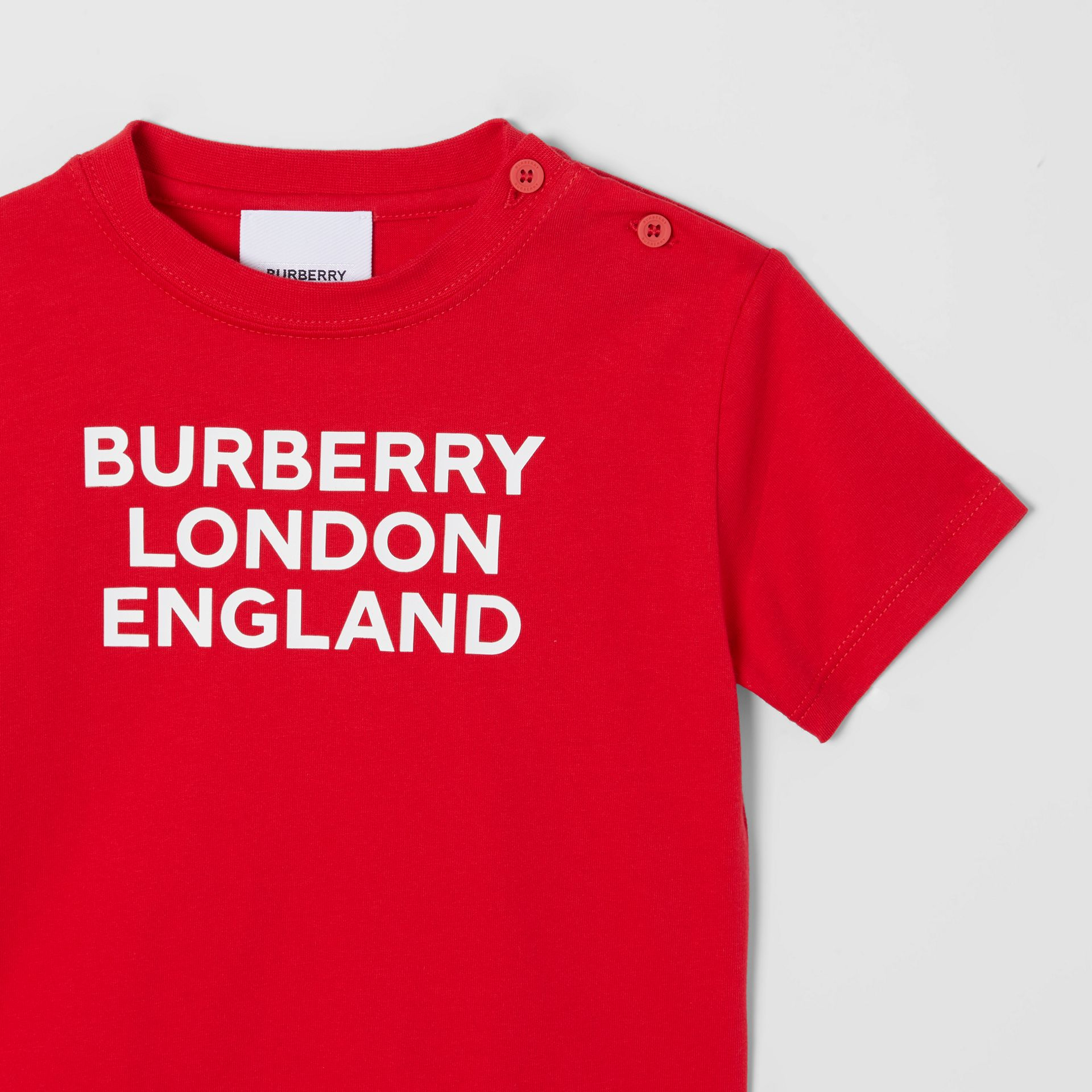 Logo Print Cotton T-shirt in Bright Red - Children | Burberry United Kingdom - gallery image 5
