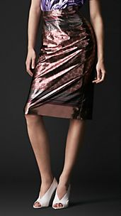 Geometric Print Metallic Pencil Skirt