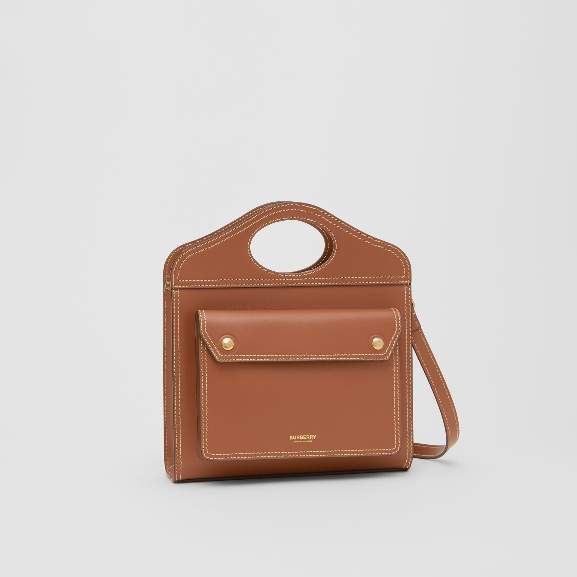 Mini Topstitched Leather Pocket Bag in Malt Brown - Women | Burberry - gallery image 5