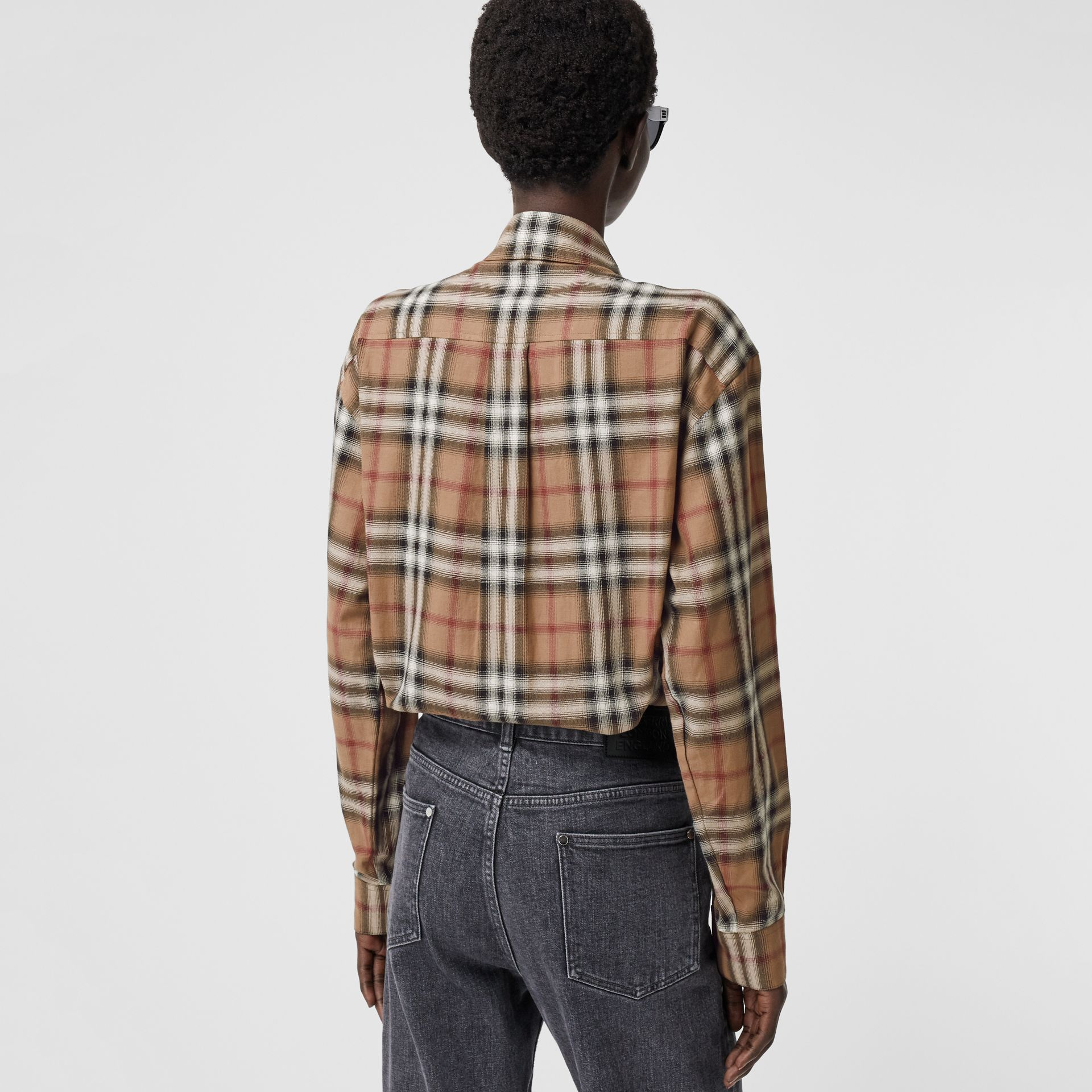 Ombré Check Cotton Twill Oversized Shirt in Birch Brown - Women | Burberry - gallery image 2
