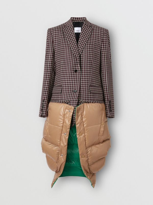 Tartan Wool Tailored Jacket with Detachable Gilet in Bordeaux - Women | Burberry - cell image 3