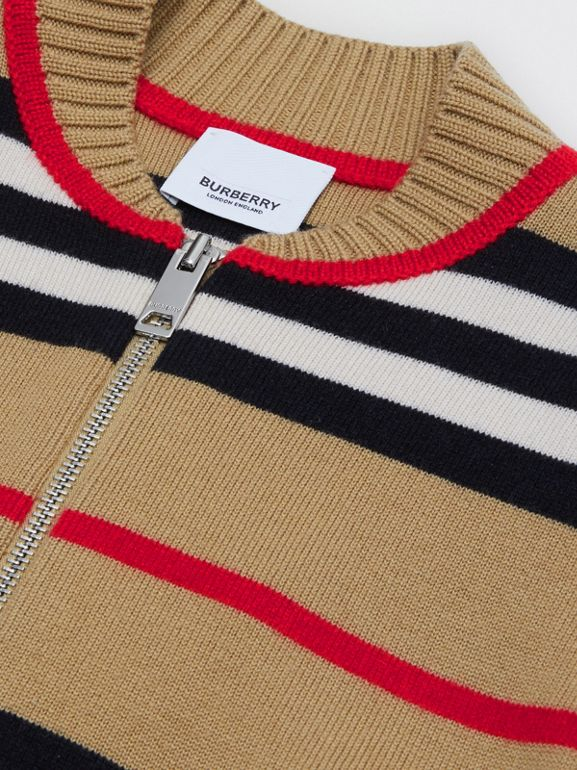 Icon Stripe Wool Cashmere Blend Cardigan | Burberry United Kingdom - cell image 1
