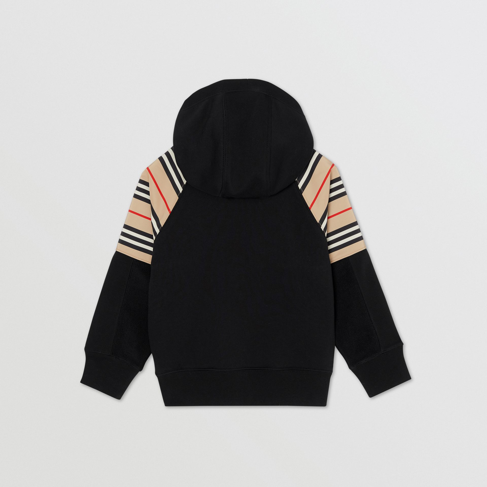 Icon Stripe Panel Cotton Hooded Top in Black | Burberry United Kingdom - gallery image 2