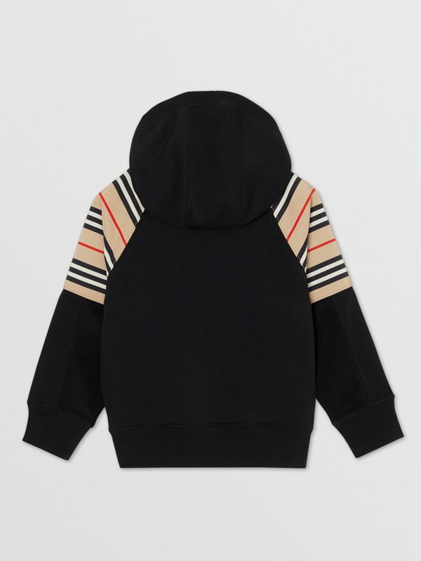 Icon Stripe Panel Cotton Hooded Top in Black | Burberry United Kingdom - cell image 2