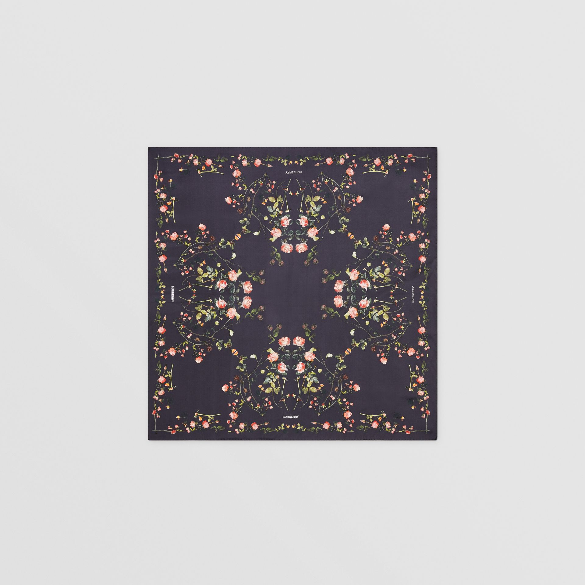 Rose Print Silk Square Scarf in Black | Burberry - gallery image 0